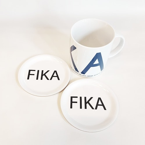 Glasunderlägg 1pack vit FIKA- I LOVE DESIGN