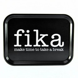 Bricka Fika svart-Mellow Design