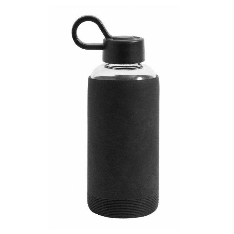 Vattenflaska glas svart-NORDAL