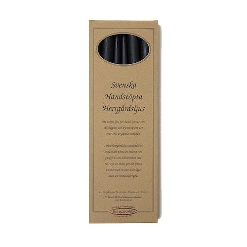 Herrgårdsljus handstöpta svarta 38 cm