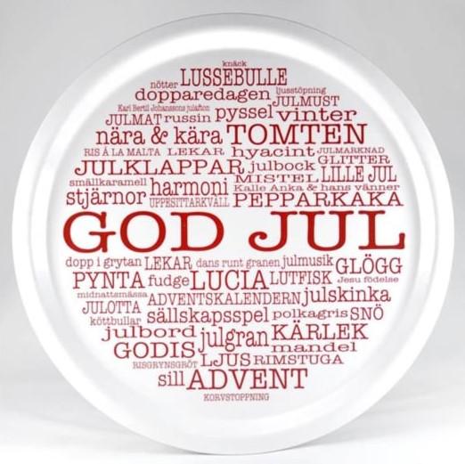 Bricka rund God Jultext vit-Mellow Design