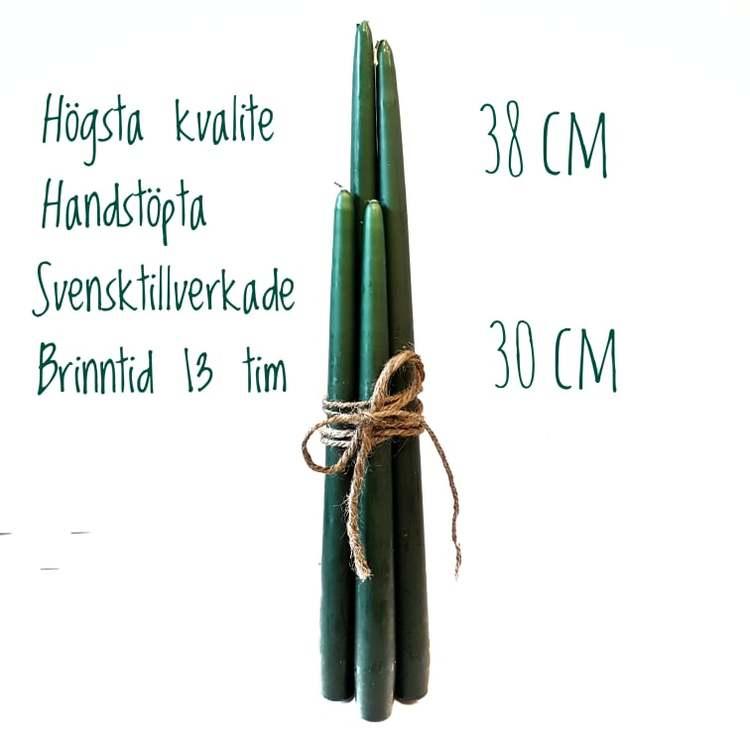 Herrgårdsljus handstöpta svarta 30 cm
