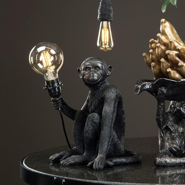 Lampa Apa mot vägg svart A LOT Anilla.se