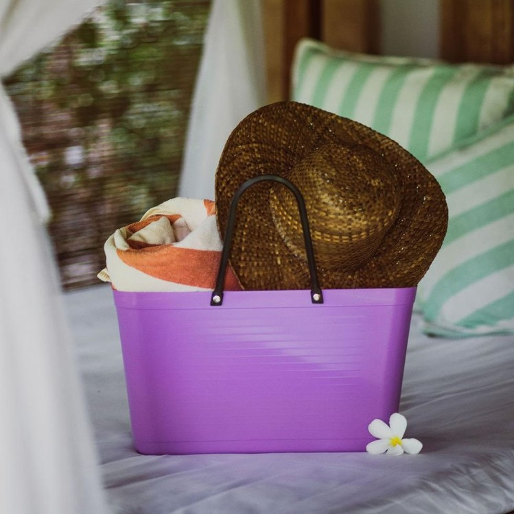 Hinza väska stor lila -green plastic