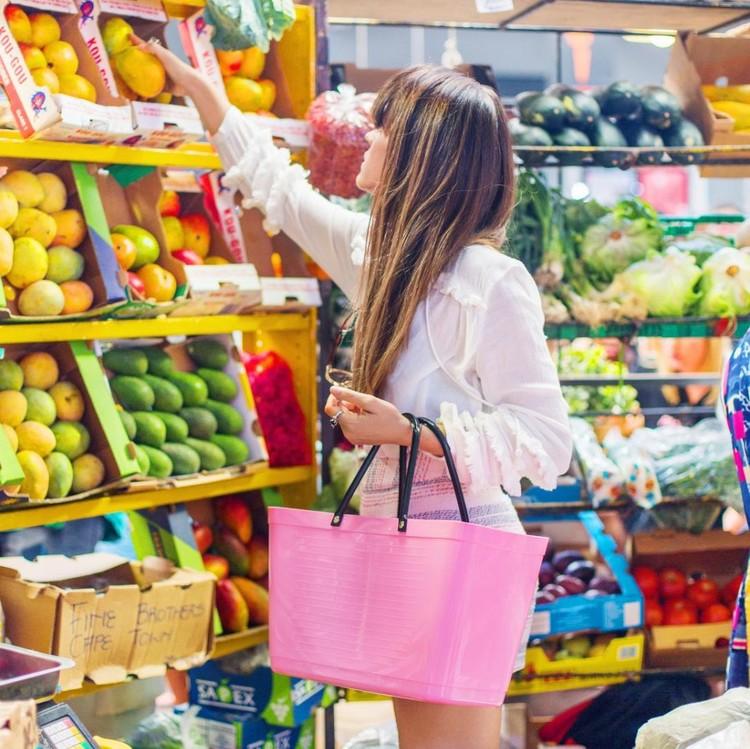 Hinza väska stor rosa -green plastic