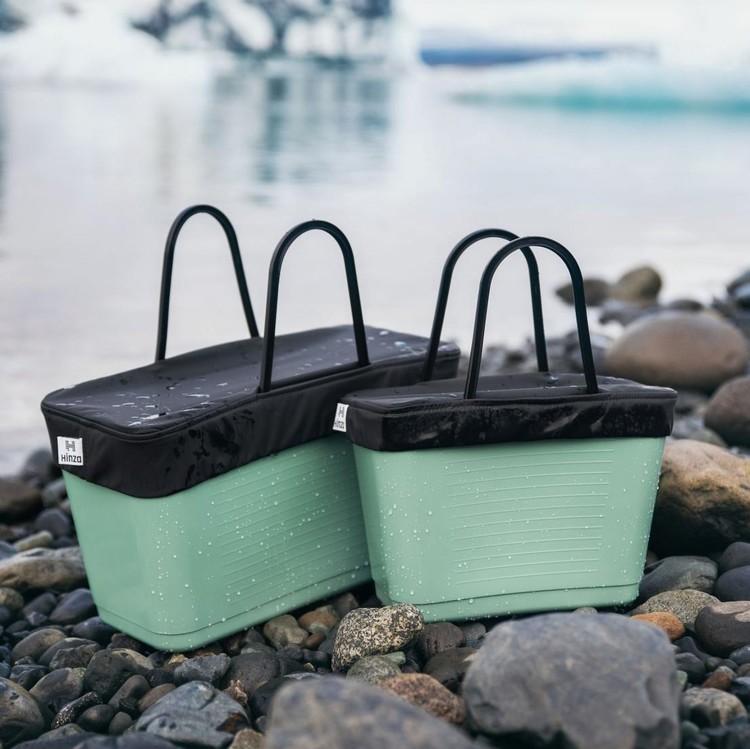 Hinza väska stor olivgrön -green plastic