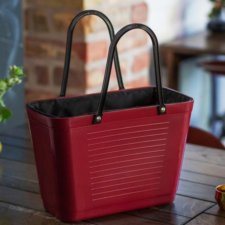 Hinza väska liten vinröd  -green plastic