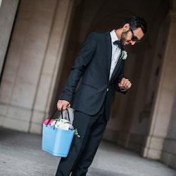 Hinza väska liten ljusblå  -green plastic