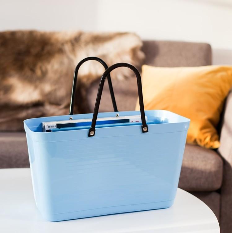 Hinza väska stor ljusblå  -green plastic