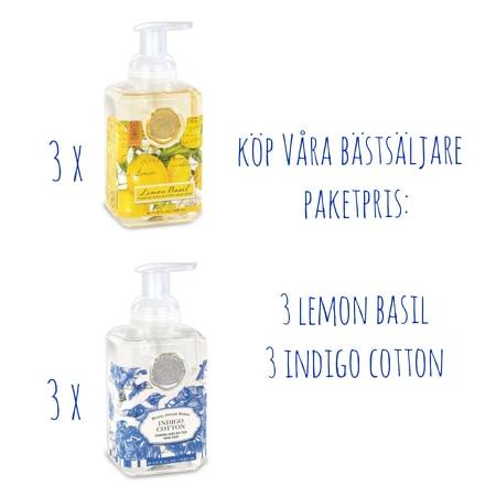 Skumtvål Indigo & Lemon 6-pack- MICHEL DESIGN WORKS