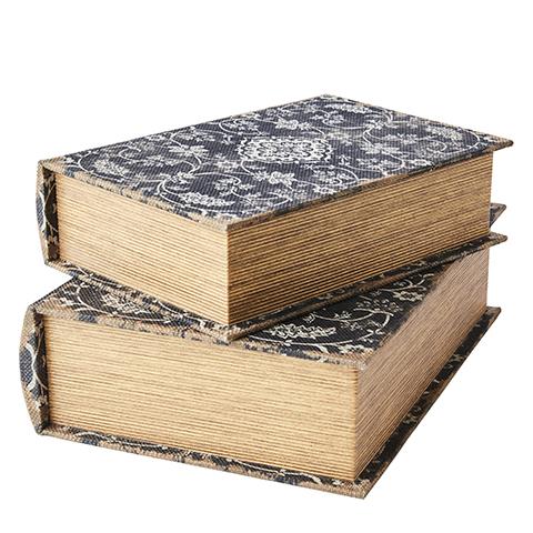 Boklådor antik svart 2-pack