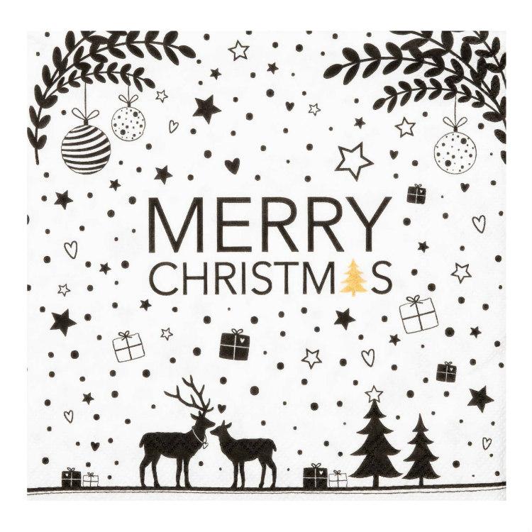 Servetter små Merry Christmas- RÄDER