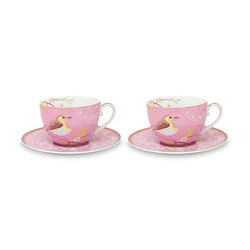 Kopp med fat Early Bird rosa 2pack -PIP STUDIO