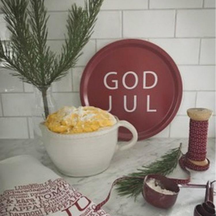 Bricka rund God Jul röd-MELLOW DESIGN