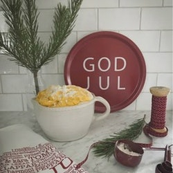 Bricka rund God Jul röd-MELLOW DESIGN