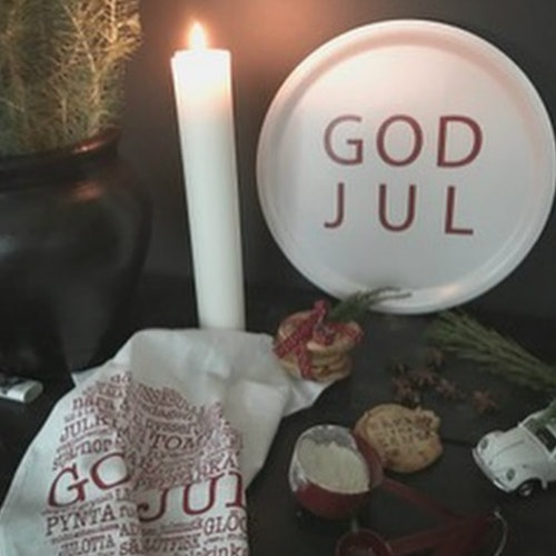 Bricka rund God Jul vit-MELLOW DESIGN