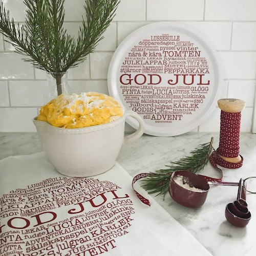 Bricka rund God Jultext vit-Mellow Design