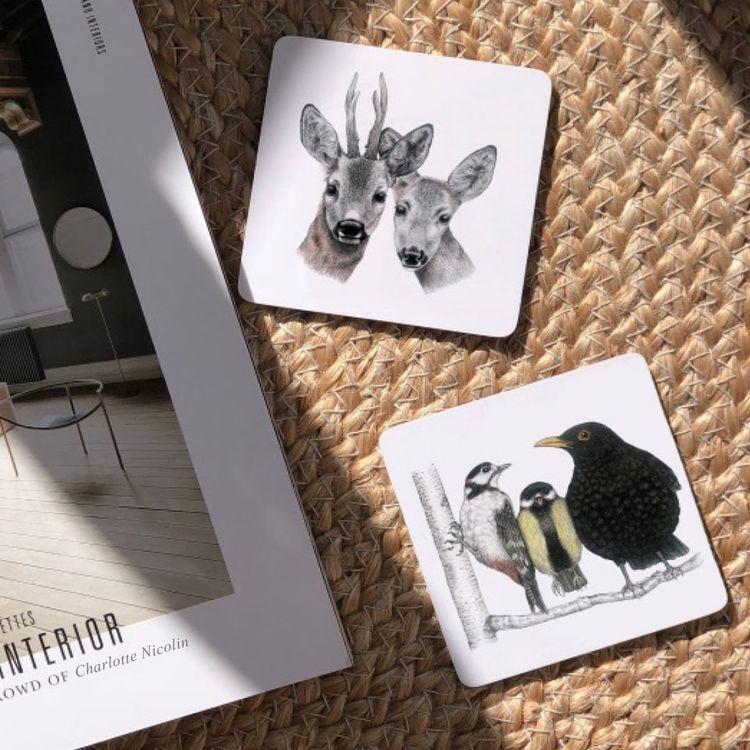 Glasunderlägg rådjur 6-pack- CHARLOTTE NICOLIN