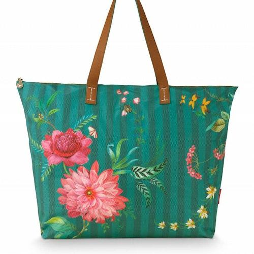 Väska beach bag fleur grön- PIP STUDIO