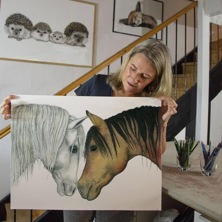 Bricka Hästar 27x20 - CHARLOTTE NICOLIN