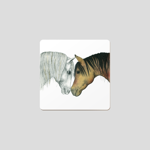 Glasunderlägg hästar 6-pack- CHARLOTTE NICOLIN