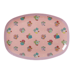 Tallrik rosa blomklasar-RICE