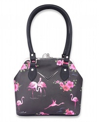 LIQOURBRAND VÄSKA CHEVRON KISSLOCK FLAMINGO BLACK