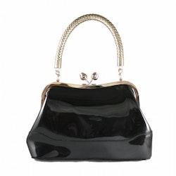 Collectif Connie Patent Bag Black