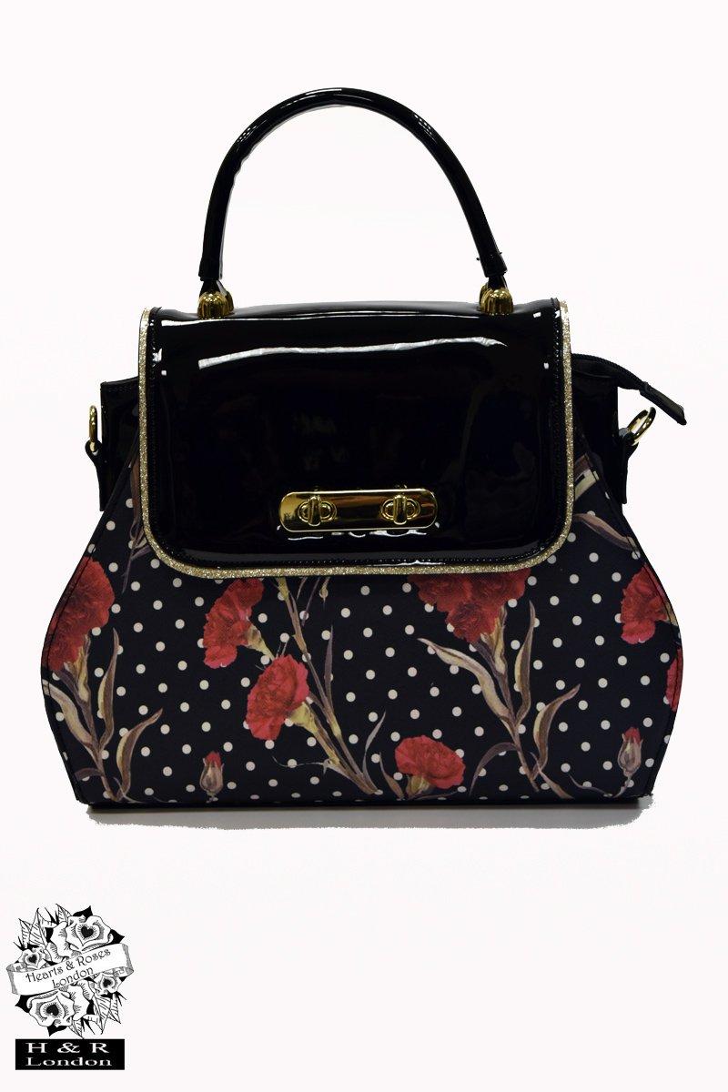 Hearts & Roses väska  Greenwich Rosa Turnlock Black