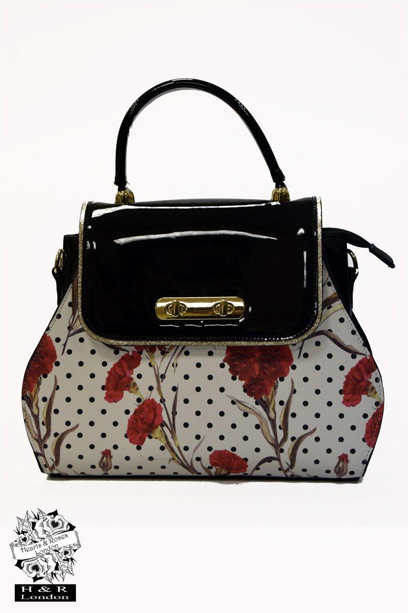 Hearts & Roses väska Greenwich Rosa Turnlock white