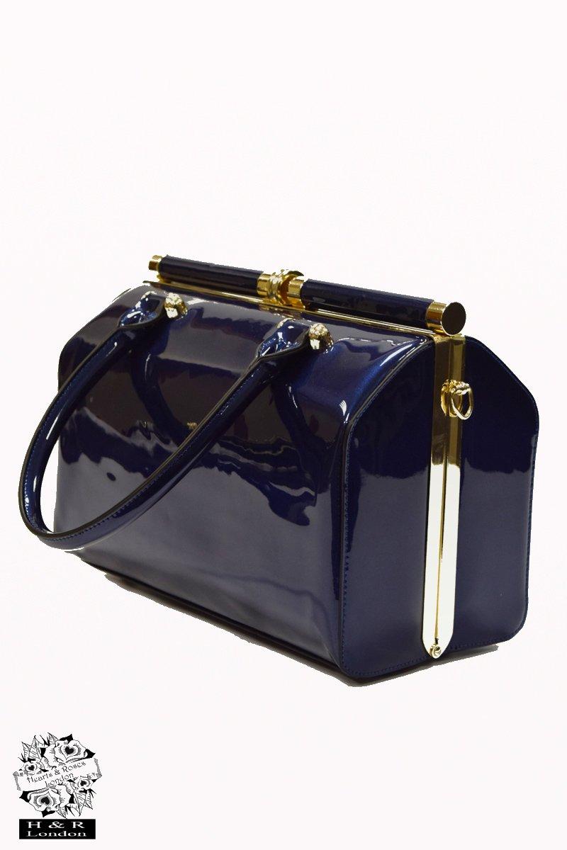 Hearts & Roses väska Navy Blue Patent