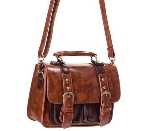 Banned liten retro väska brun