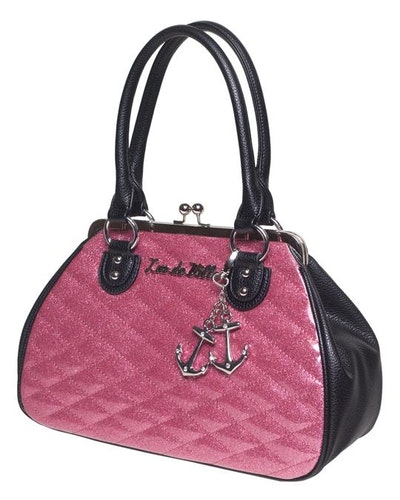 Lux De Ville väska Hold Fast Kiss Lock Black Matte and Pink Bubbly Sparkle
