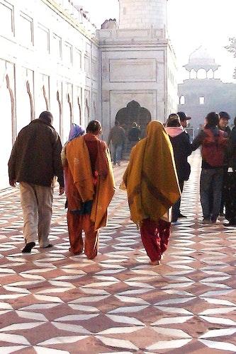 Print Orange saris