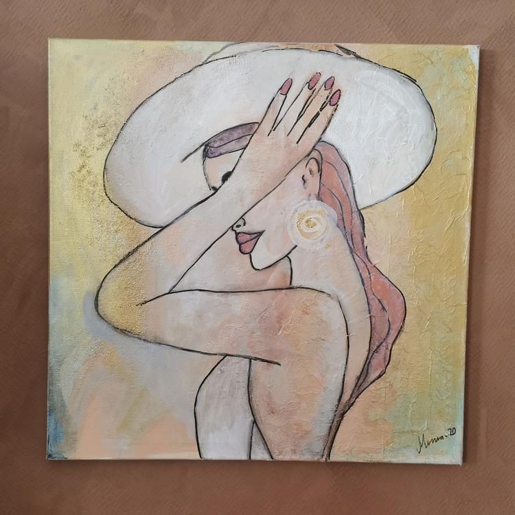 Tavla kvinna i hatt