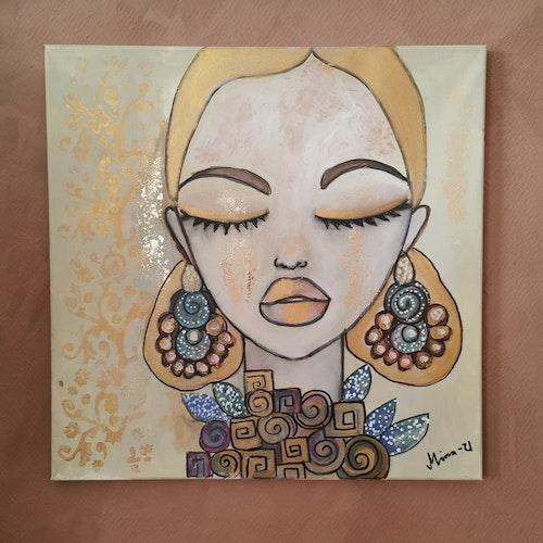 Tavla kvinna med örhängen