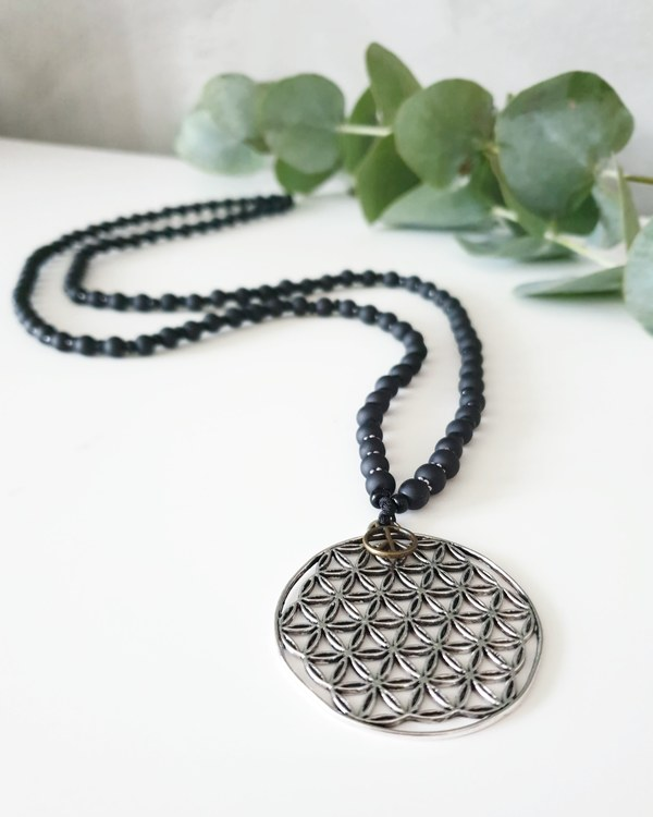 Flower of life silver Halsband