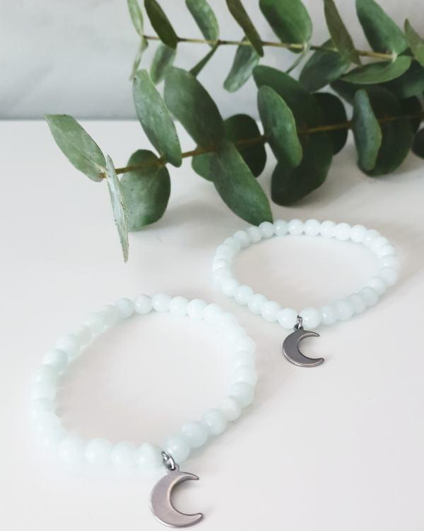 Armband jade | ljus turkos & måne