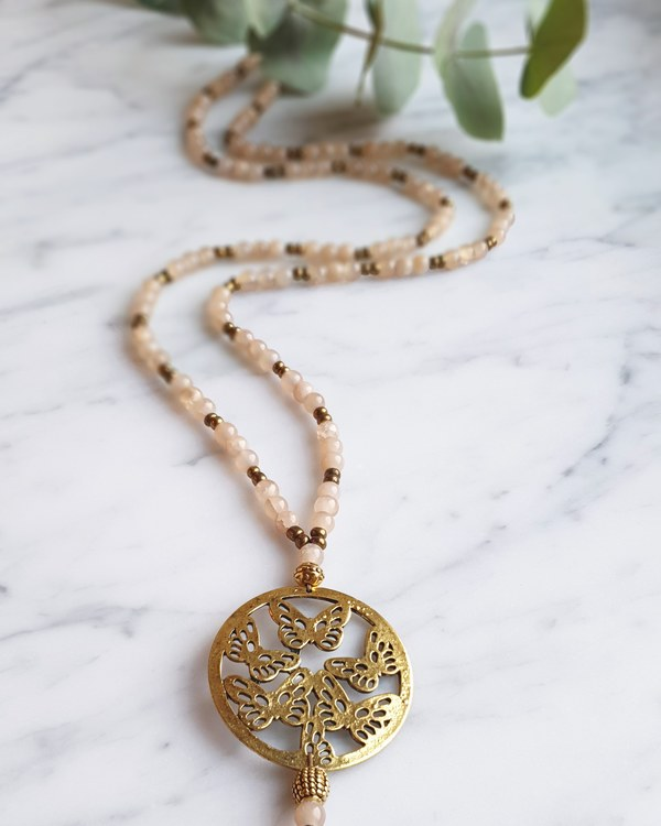 Butterfly necklace, soft cream & gold