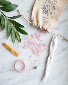 DIY - Meditationsmala, kit, rosenkvarts