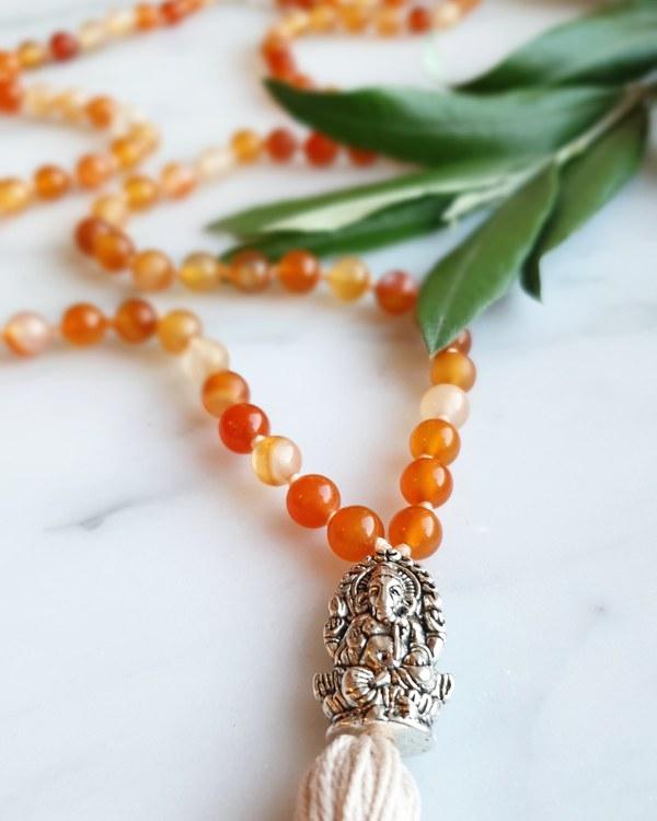 Meditationsmala, karneol & Ganesha