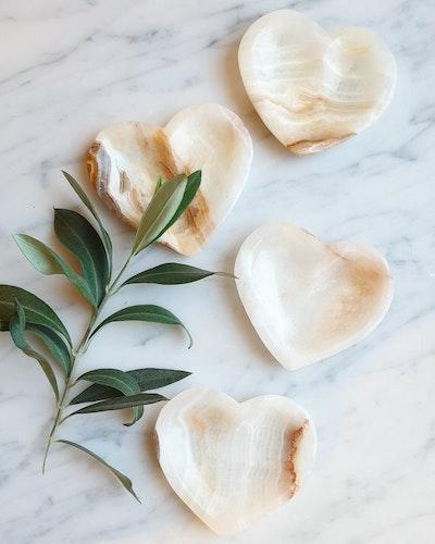 Onyx, hjärtformat fat