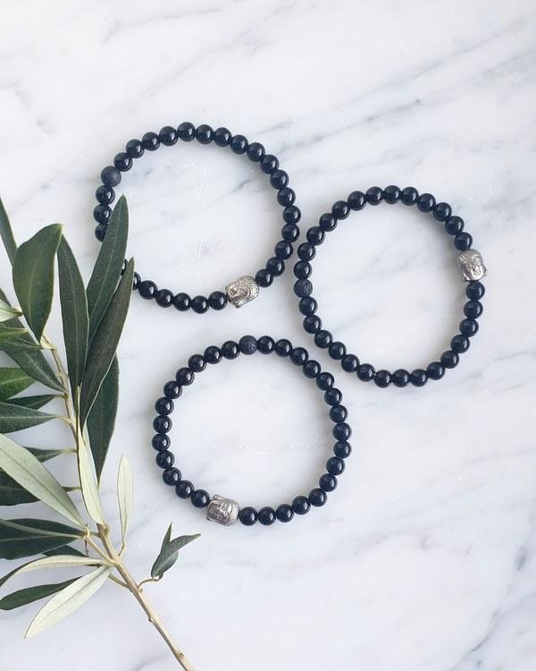 Armband, svart obsidian & lavasten,