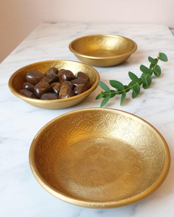 Skål, antik/mässingfärgad