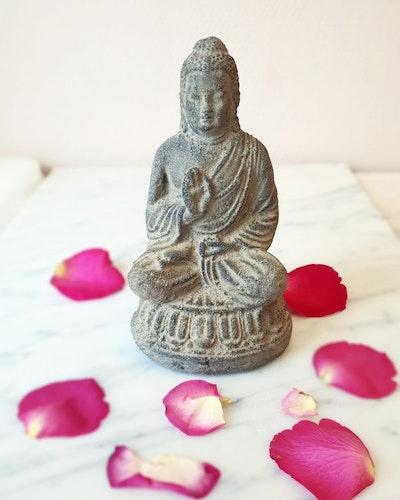 Buddha staty, 15cm, Grå