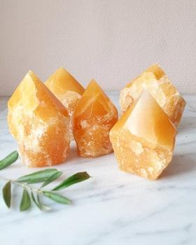 Orange kalcit, semipolerade torn (Mexico)