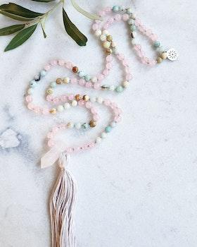 Meditationsmala, Amazonit, Rosenkvarts & Bergkristall