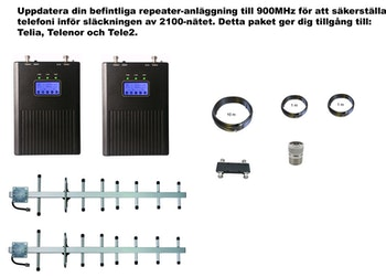 Paket Telia, Telenor och Tele2,  +23dBm uppdatering till 900Mhz