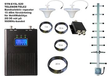 Paket för Telenor/Tele2 +15dBm med två inomhusantenner 900Mhz
