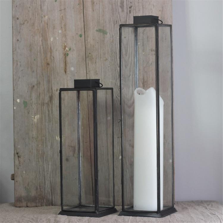 Ljuslykta Hoy large i metall och glas, svart